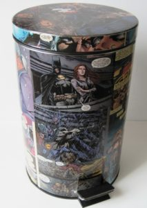upcycled trash can with comics