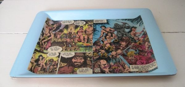 Tray with comic book decoupage
