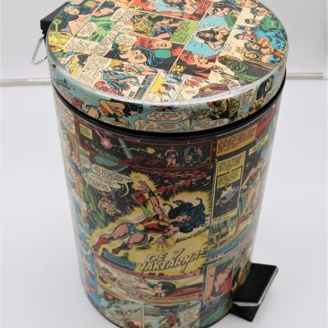 pedal dustbin with comics